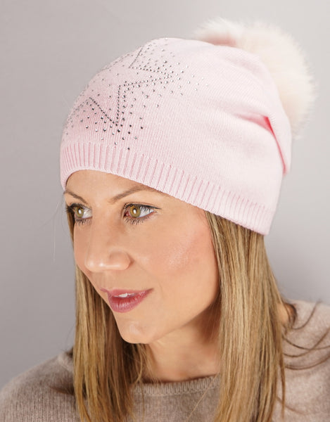 Sparkle Star Tucked Toque- Pink