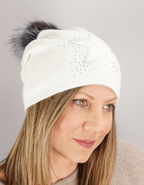 Sparkle Star Tucked Toque- White