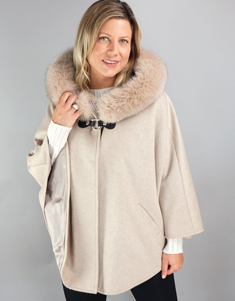 Buckle & Leather Detail Hooded Cape - Stone