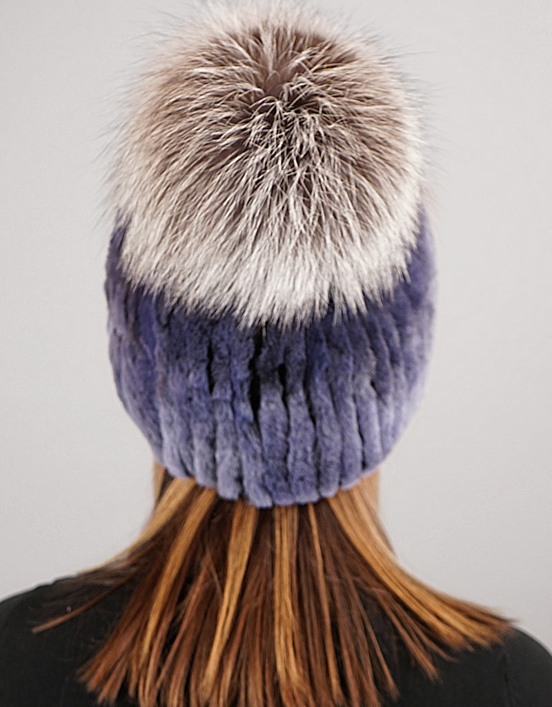 Oversize Pom Pom Stretch Rex Hat - Dusty Blue Silver