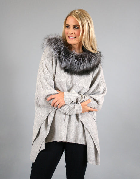 Cable Poncho/Sweater with Fox Collar- Grey