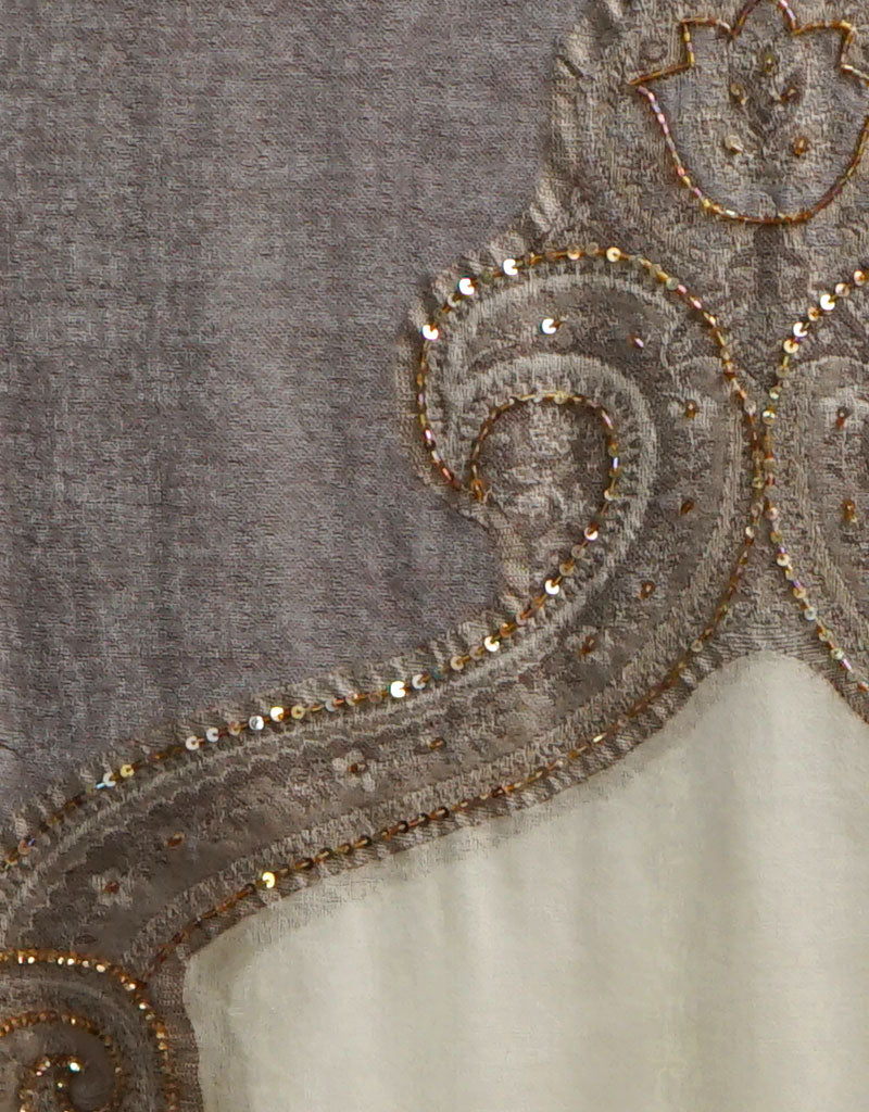 Embroidered Wrap with Fox Trim- Taupe