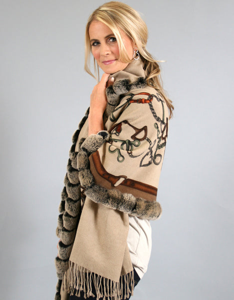Buckle Print Silk Shawl with Rex Trim