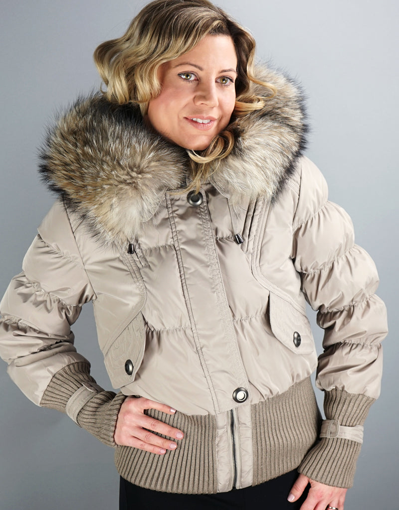 Aviator Jacket With Knit Details-Taupe