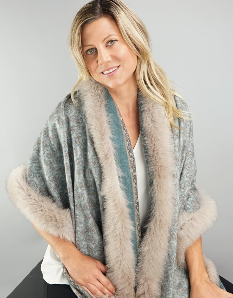 Printed Cashmere Shawl- Turquoise Scroll / Sand