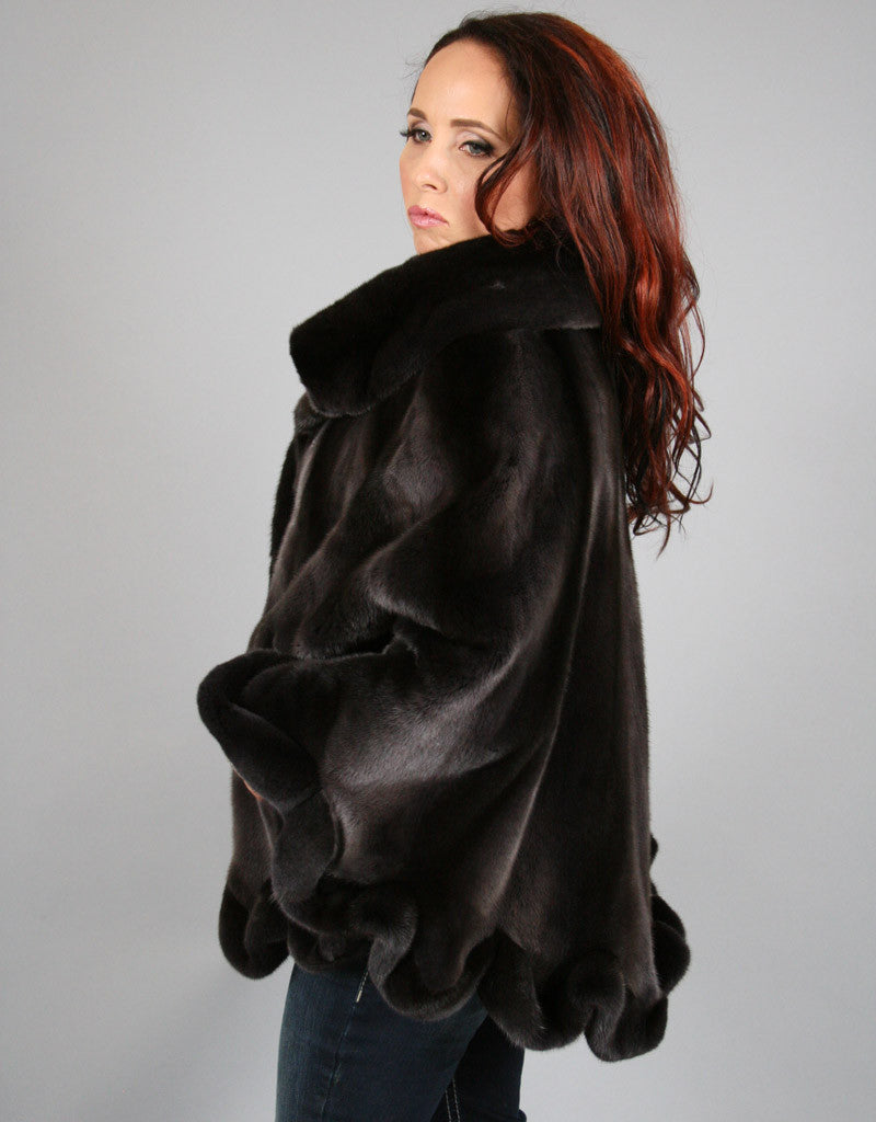 Exquisite Mink Cape-Steel Grey