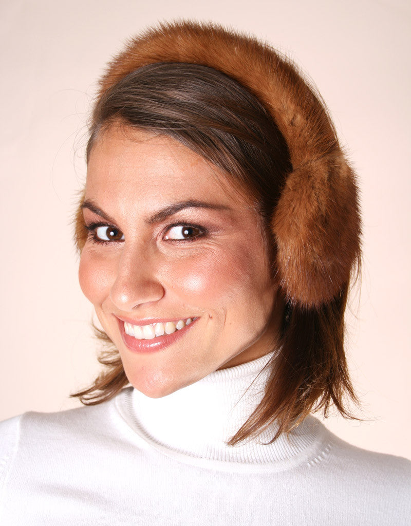 Mink All Fur Earmuff-Black