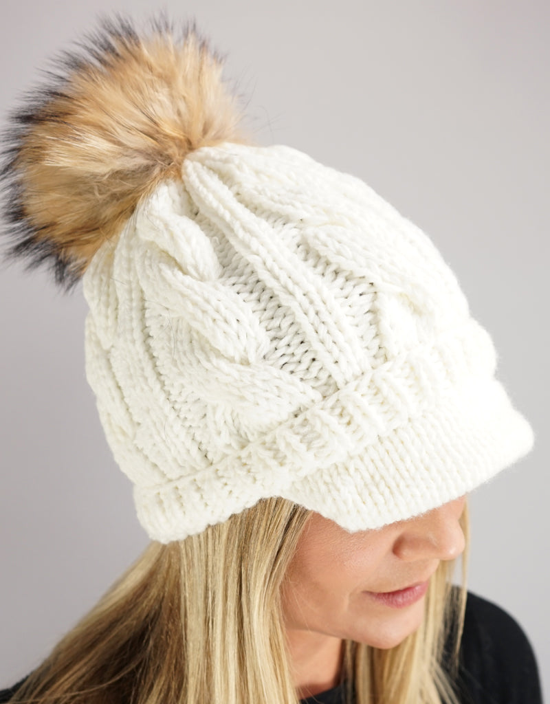 Cable Peak Knit Hat - White