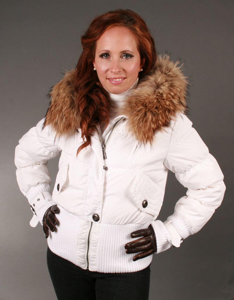Aviator Jacket With Knit Details-White Natural