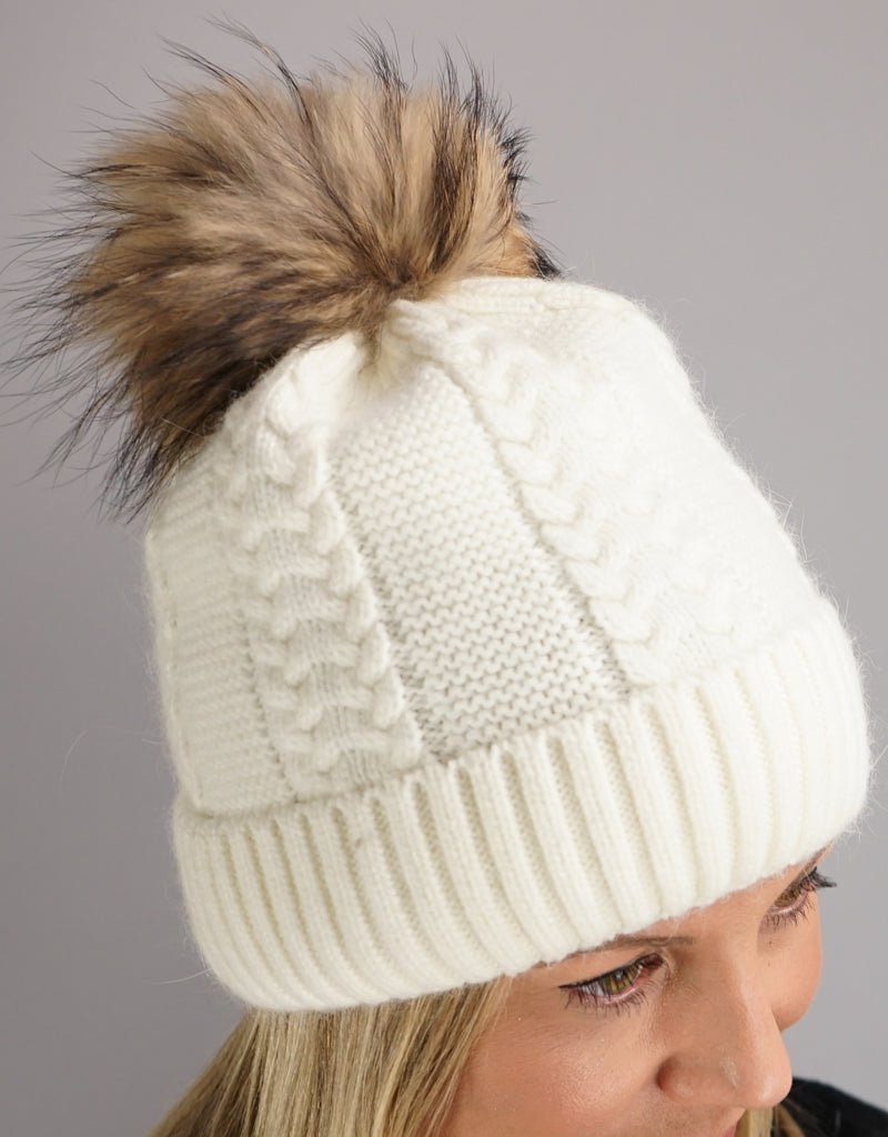 Cable Cuff Hat with Pom Pom - White