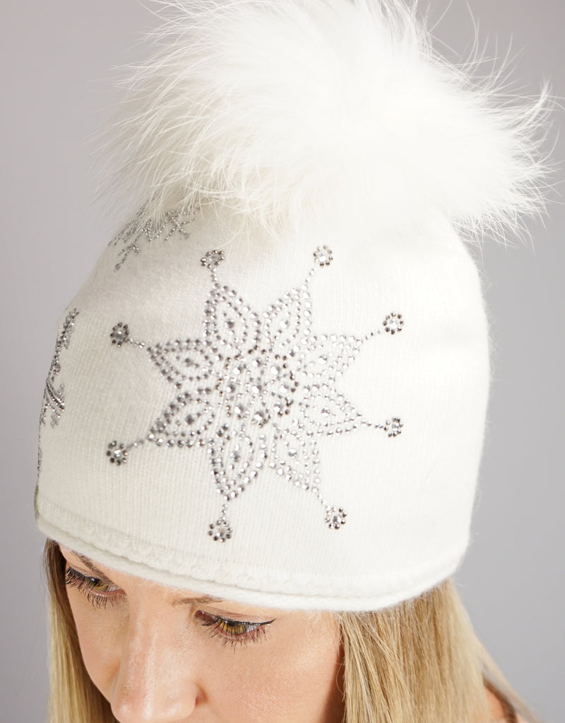 Crystal Snowflake Pom Pom Hat- White / White Dyed Finn Raccoon