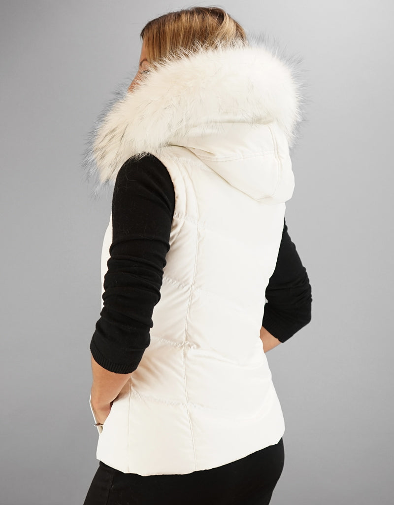Hooded Vest with Fur Trim-Black