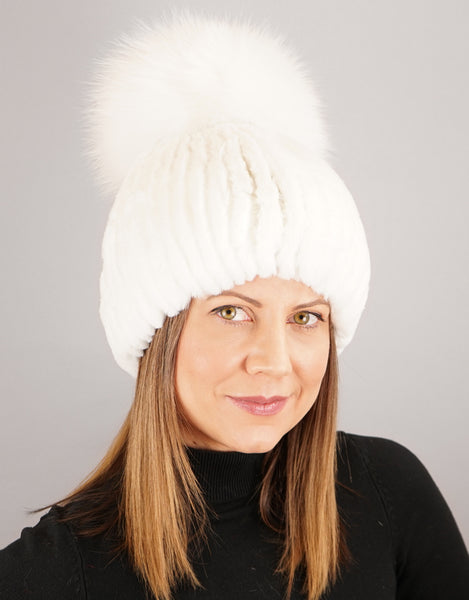 Oversize Pom Pom Stretch Rex Hat - White