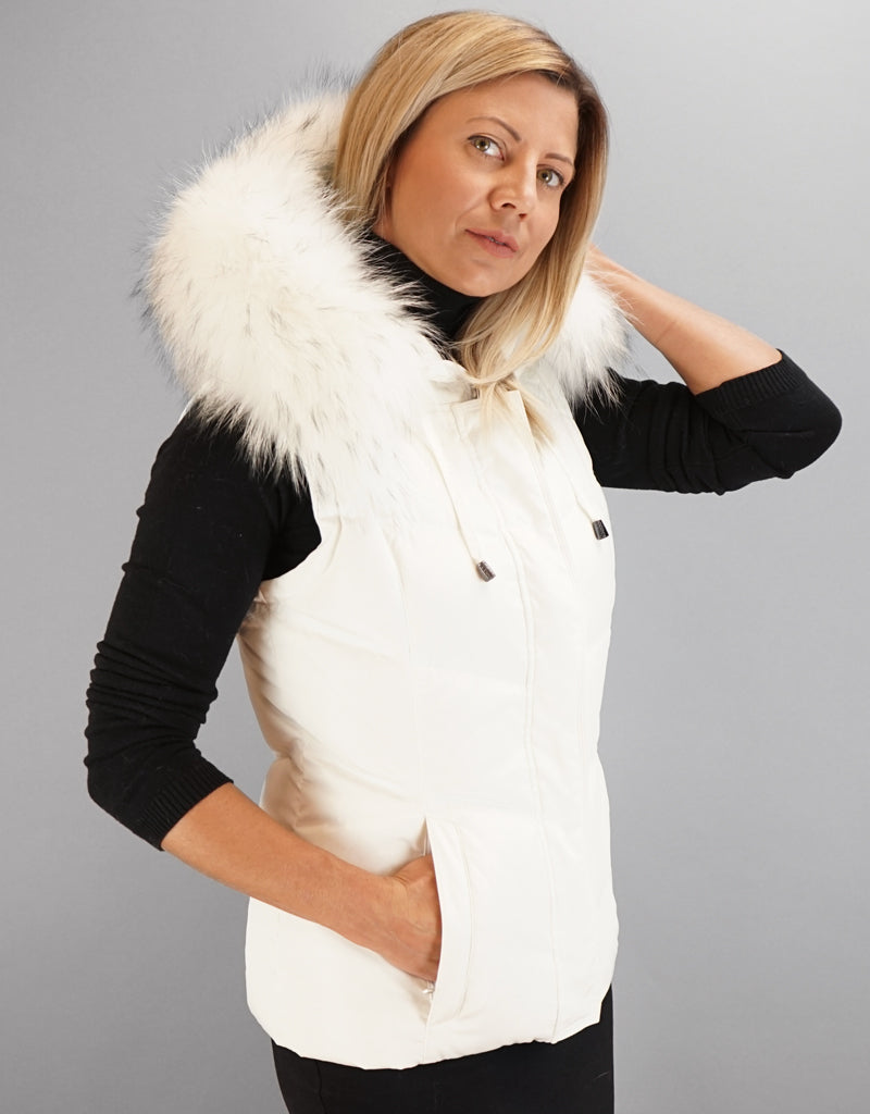 Hooded Vest with Fur Trim-White