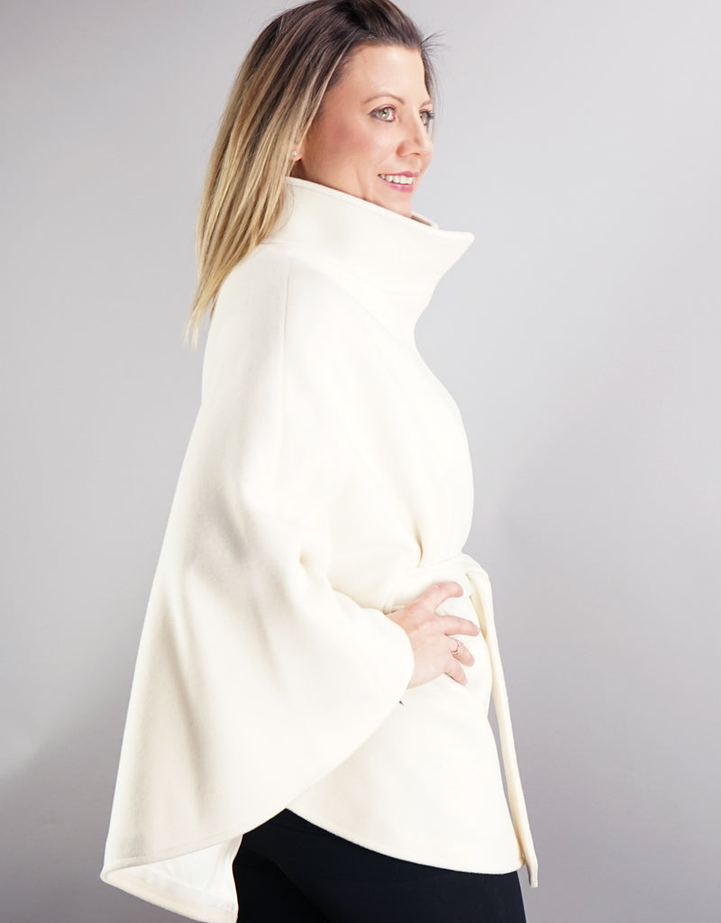 Belted Modern Cape/Jacket - New White