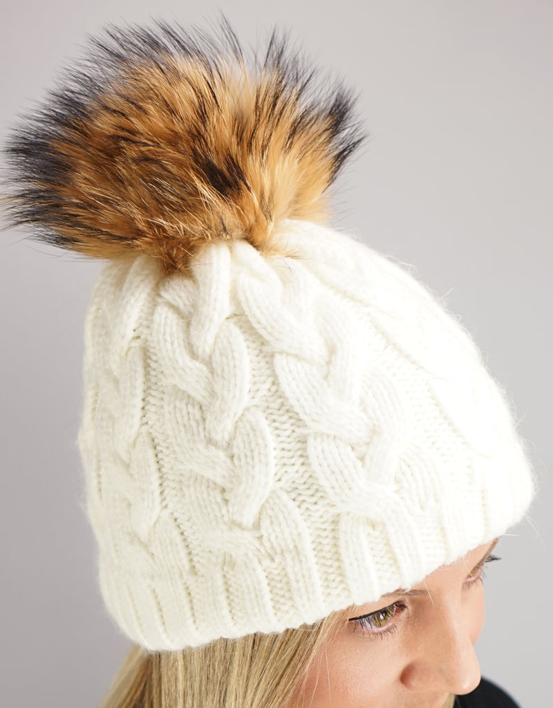Large Cable Hat with Pom Pom - White