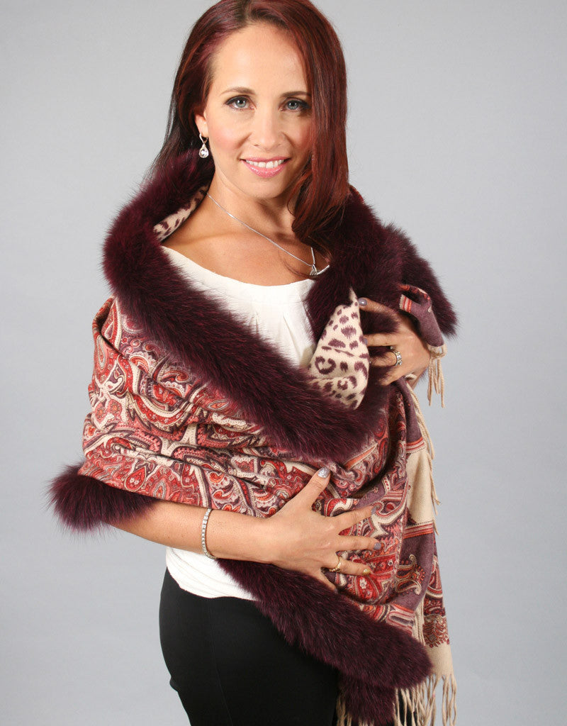 Printed Cashmere Shawl-Purple/ Purple