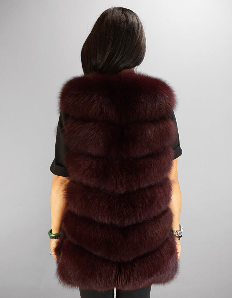Modern Horizontal Fox Vest- Wine
