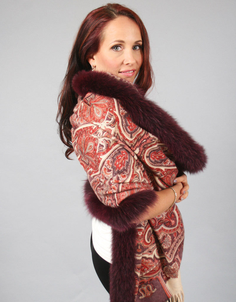 Printed Cashmere Shawl-Dark Brown/ Rust