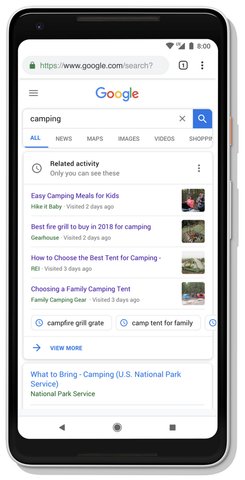 Google Activity Cards