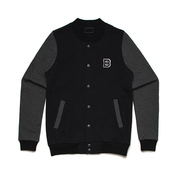 BAMN College Jacket - B Logo // Black // Limited Edition - Bamn Apparel