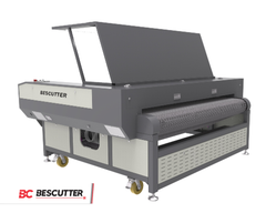 ALL SYSTEM INCLUDED BESCUTTER FABRIC CUTTING EXPERT 71''X39'' CO2 LASER CUTTER & ENGRAVER 150W WITH CAMERA POSITIONING, CONVEYOR BELT AND EDGE AUTO-DETECTING FEEDER - BesCutter Laser Cutters and Engravers