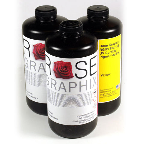 Premium Flex-R5 UV Curable Pigmented Inks 1 Liter Bottle - Rose Graphix, Supplies for Printer, BesCutter