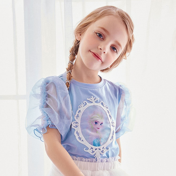 3-10Y Girls Frozen Elsa Top with Puffy Princess Sleeves A20215K