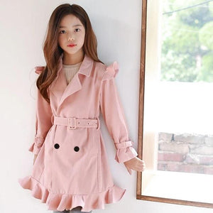 3-15Y Girls Pink Ruffle Coat G21044G (Mother size available)