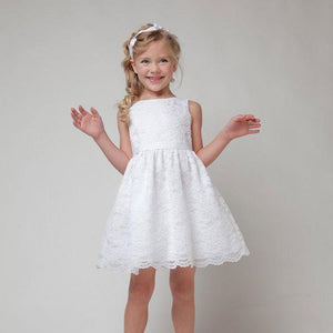 3-8Y Girls White Lace Flower Girl Dress A20129K