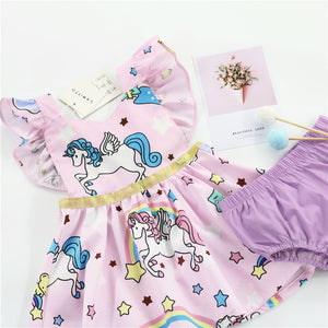 1-6Y Girls Unicorn Ruffles Pinafore Dress G2021E