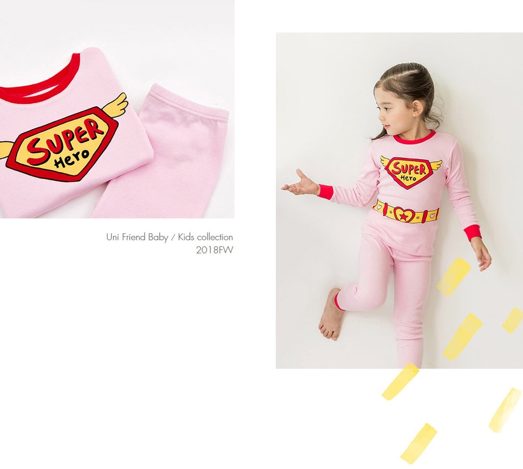 2-8Y Kids Organic Supergirl Pyjamas 2pcs Set A40421D