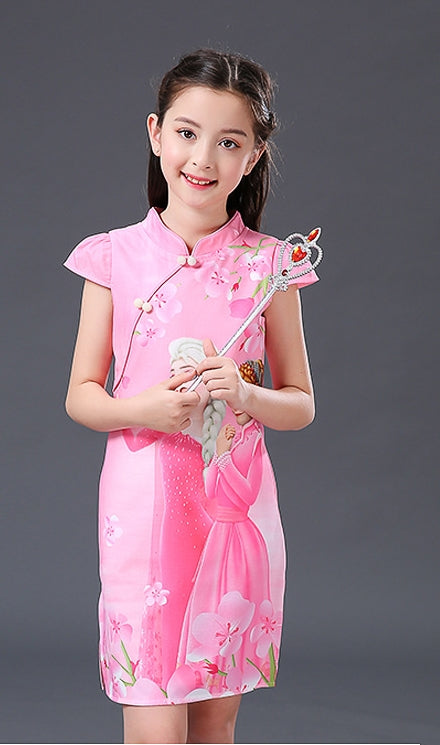3-10Y Girls Cartoon Cheongsam Dress A200C68G