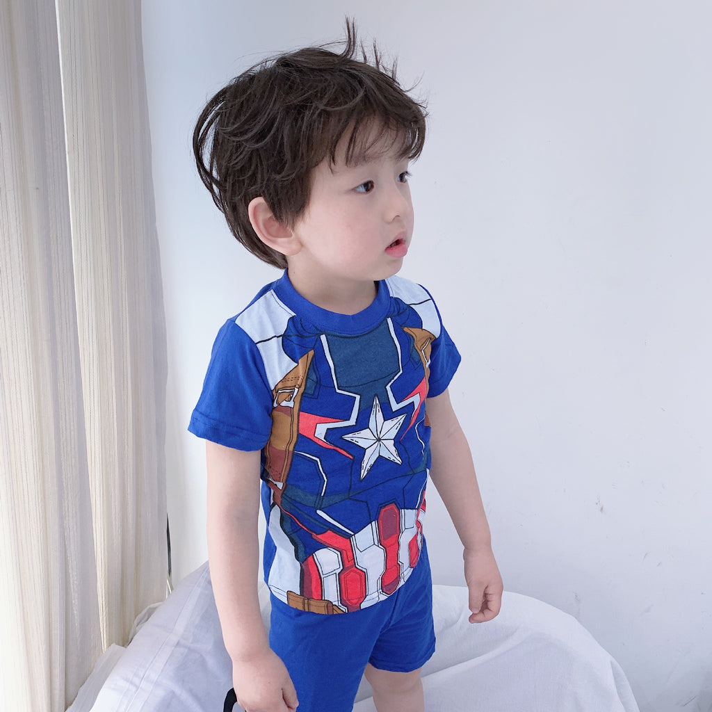 Boys Superhero Captain America Top and Bottom 2pcs Set A1061C