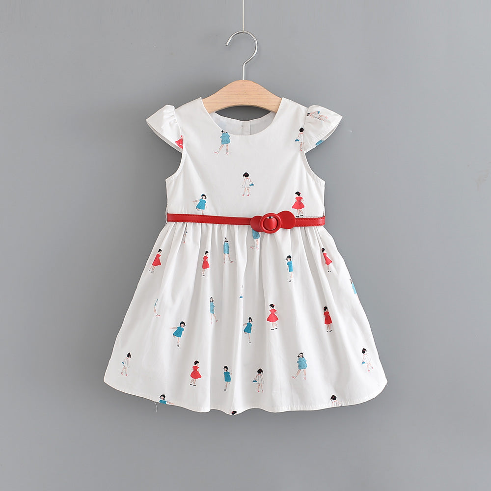 2-10Y Kids Printed Flared Dress with layer and Belt G20124C