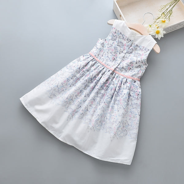 2-10Y Kids Printed Flared Dress with layer G20124B