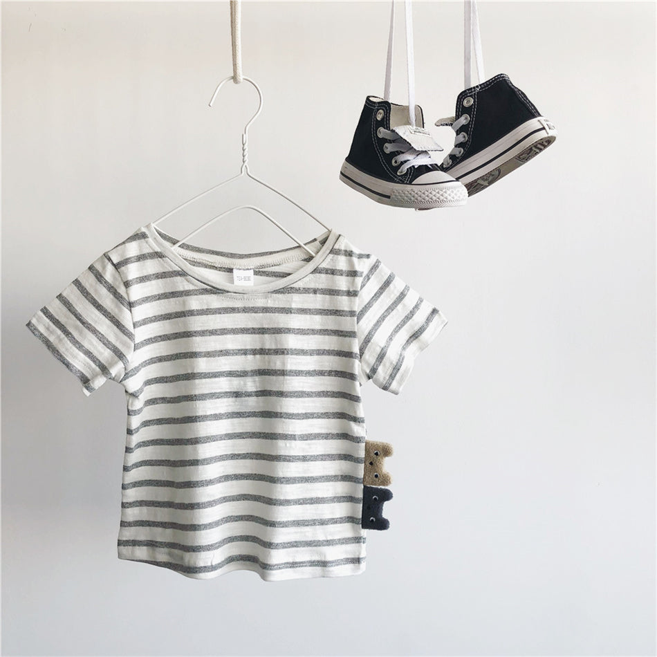 1-6Y Kids Stripes Tee with Teddy Bears A10463A