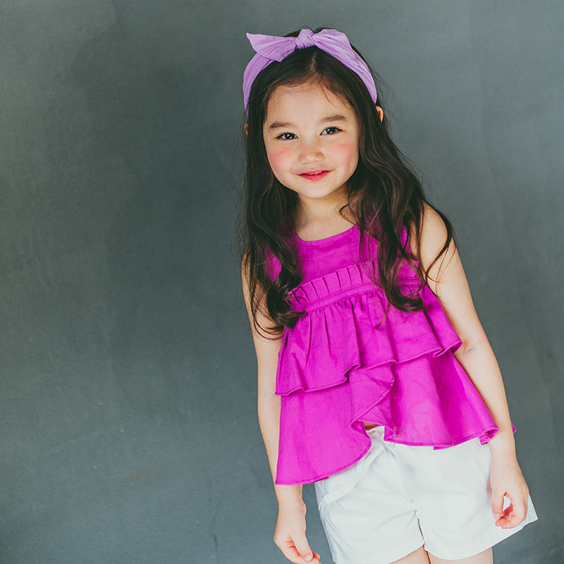 2-8Y Girls Fushia Ruffles Top G20121K