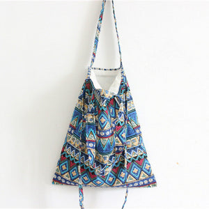Cotton Canvas Shoulder Hand Bag Tote Bag with Zipper D2012F