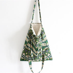 Cotton Canvas Shoulder Hand Bag Tote Bag with Zipper D2012G