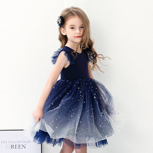 Girls Glitter Dark Blue Gown  G20133K