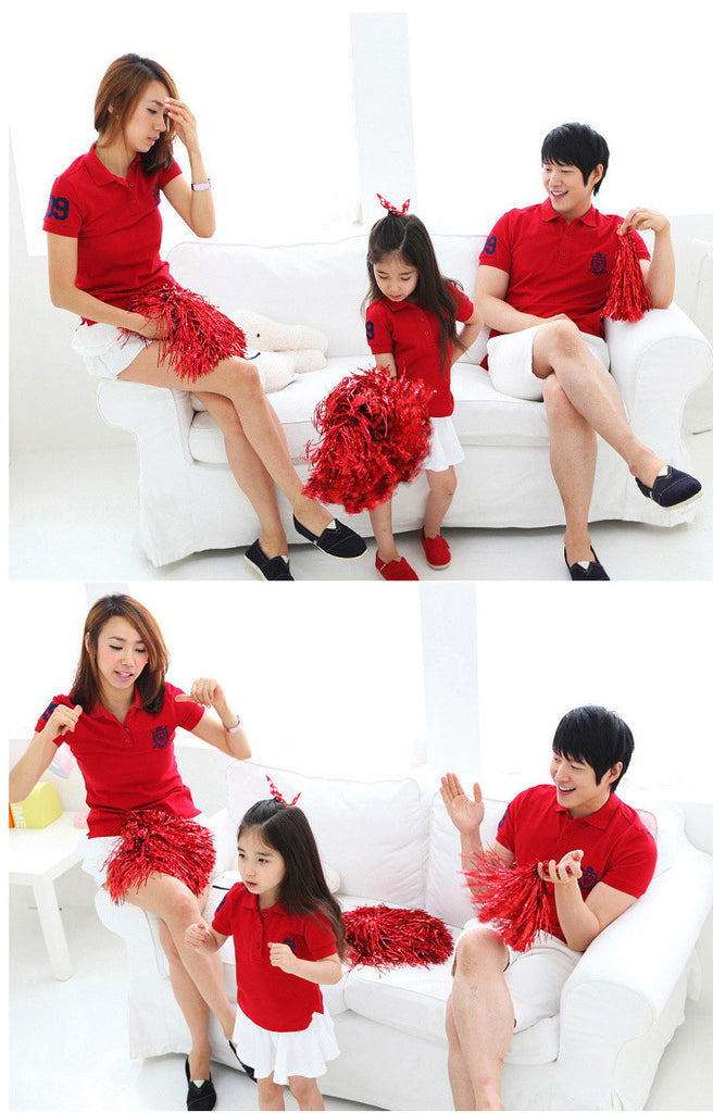 Family Wears Red Collar Shirts F110
