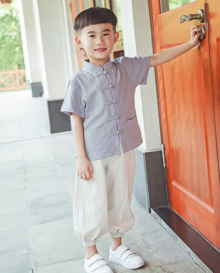 2-8Y Boys Kids Mandarin Top and Bottom 2pcs Set A100C42E