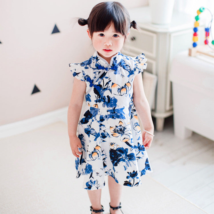 2-8Y Girls Cheongsam Flare Dress A200C11N
