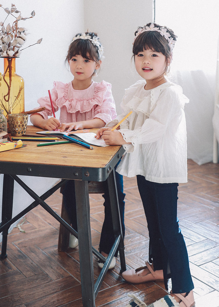 3-7Y Girls White Ruffles Top G211J