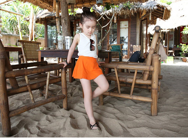 3-12Y Girls Orange Skort A2044M