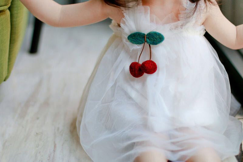 1-5Y Cherry White Tulle Dress by Italy Brand PEACOCK BLUE G250L