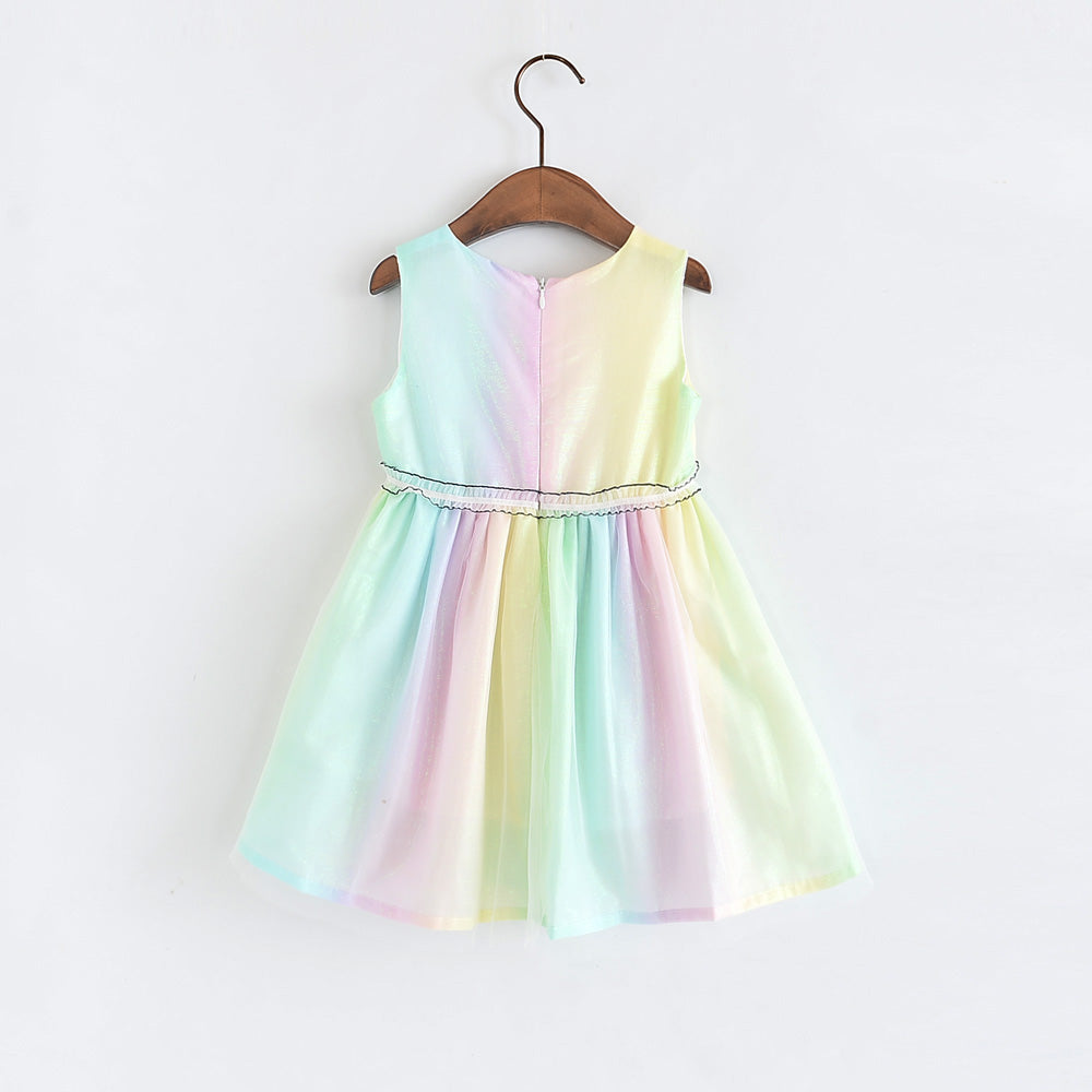 2-10Y Girls Rainbow Tulle Dress G20126J