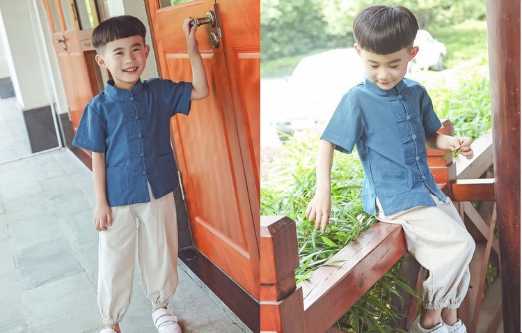 2-8Y Boys Kids Mandarin Top and Bottom 2pcs Set A100C42D