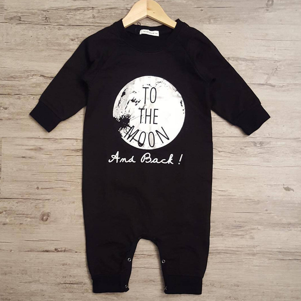 Boys To the Moon Black Bodysuit Romper A405B